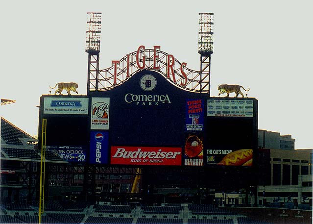 score board at comerica park